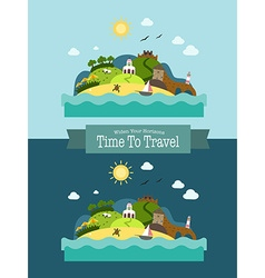 Paradise tropical island landscape vacation vector