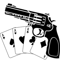 cards and pistol vector image