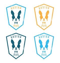 Set labels with boston terrier emblem for the vector