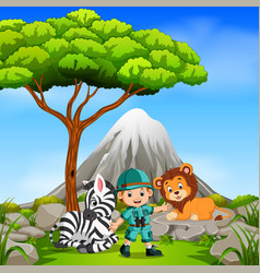 adventurer and wild animal posing with mountain vector image