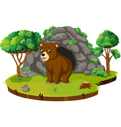 bear in front of the cave vector image
