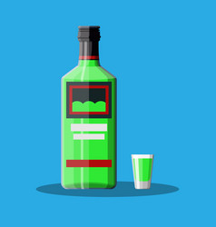 Bottle of absinthe with shot glass vector