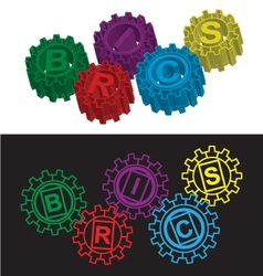 BRICS stylized symbol of gears vector image