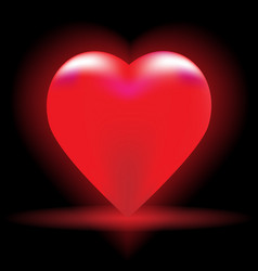 Bright red heart on a black background vector