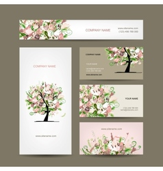Business cards design with floral tree sketch vector image