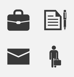 Business icons set collection of work man suitcase vector