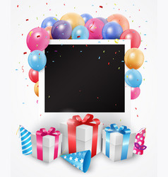 Colorful birthday balloon with photo frame vector