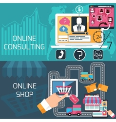 Concept for online shopping and consulting service vector