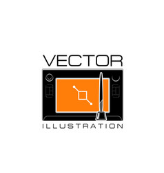Design studio icon of digital drawing pad vector
