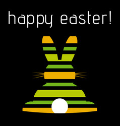 Easter greeting colored striped rabbit rear view vector