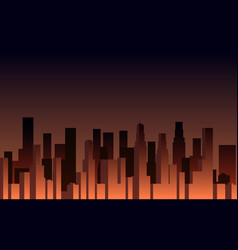 evening panorama of the city skyscrapers vector image vector image