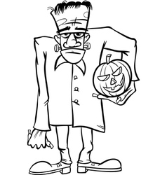 frankenstein cartoon for coloring book vector image