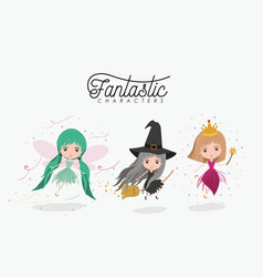 girly fantastic character set of princess fairy vector image
