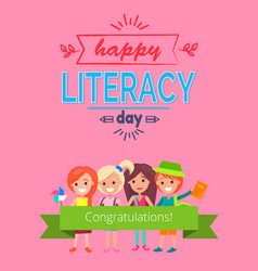 Happy literacy day pink vector