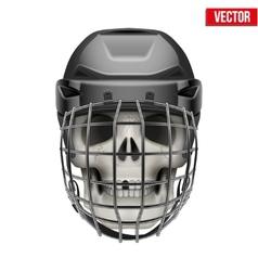 Human skull with ice hockey helmet vector image vector image