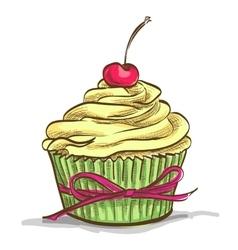 Ice cream sundae cupcake vector image vector image