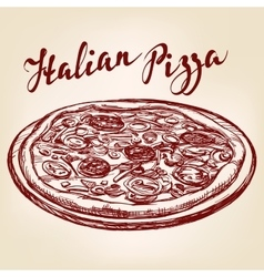 Italian pizza hand drawn llustration vector