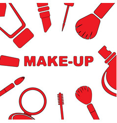 Makeup set of cosmetics vector