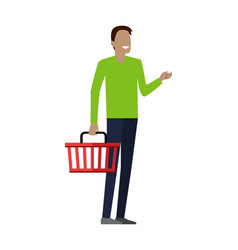 man with shopping basket vector image vector image