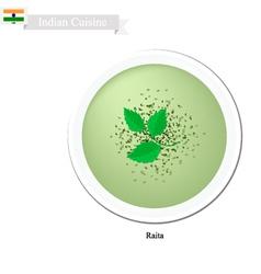 Raita or indian creamy cucumber yogurt dip vector