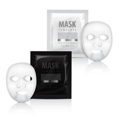 Realistic facial sheet mask and sachet vector