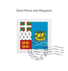 Saint-pierre and miquelon flag postage stamp vector