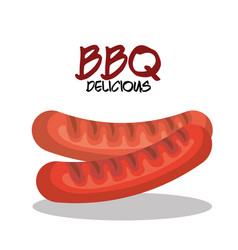 Sausage grill bbq menu icon vector