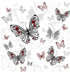 Seamless Pattern of Gray Butterflies vector image vector image