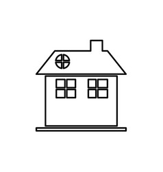 Silhouette facade house two floors with chimney vector