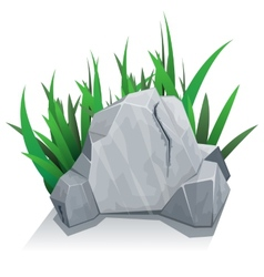 Single stone with grass vector