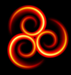 Three an abstract red swirls on black vector