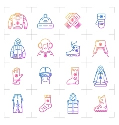Trend winter clothes isolated gradient icon vector