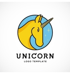 Unicorn Abstract Logo Template Line Style vector image vector image