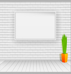 white brick wall with white wooden floor on the vector image