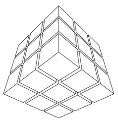 wireframe mesh outline cube vector image vector image