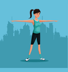 Woman sports training exercise urban background vector