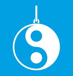 yin yang symbol icon white vector image