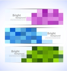 Set of pixelated banners vector