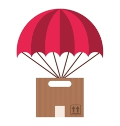 Box carton flying parachute silhouette icon vector