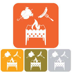 Brazier chicken and sausage icon vector