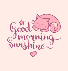 Good morning sunshine hand lettering cute vector