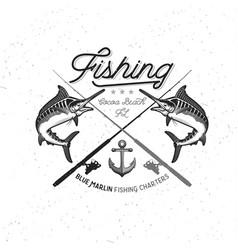 fishing logo blue marlin or swordfish icon vector image