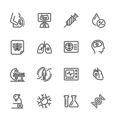 Medical diagnostics health check up line icons vector