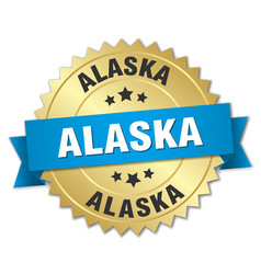 Alaska round golden badge with blue ribbon vector