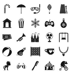 happy childhood icons set simple style vector image