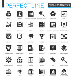 Black classic business analytics icons set vector