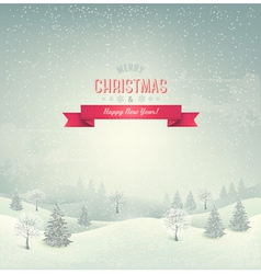 Holiday christmas background with winter landscape vector image