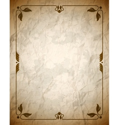 Aged crumpled brown frame with vintage ornament vector image