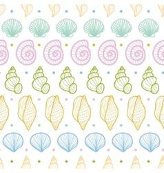 Seashells stripes line art seamless pattern vector image