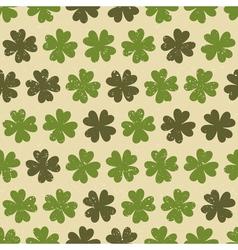 Seamless four leaf clovers green vintage pattern vector